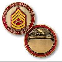 Custom Engraved Rank Coin, E-7 (Gunnery Sergeant)