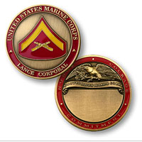 Custom Engraved Rank Coin, E-3 (Lance Corporal)
