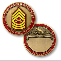 Custom Engraved Rank Coin, E-8 ( Master Sergeant)