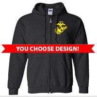 _Full-Zip Hoodie (Black Only): You Choose Design