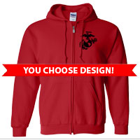 _Full-Zip Hoodie (Red Only): You Choose Design