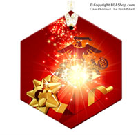 Ornament: EGA in a Christmas Gift Box (Glass)