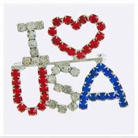 Z Brooch: I (Heart) USA