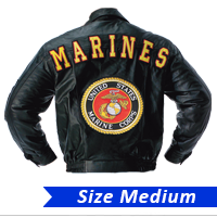 _Jacket (leather): Marines with USMC Seal - SIZE MEDIUM