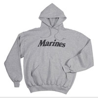 Sweatshirt, Hooded Pullover: Marines on PT Grey