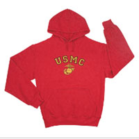 Sweatshirt, Hooded Pullover: EGA and USMC on Red