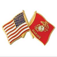 Lapel Pin, American and USMC Flag