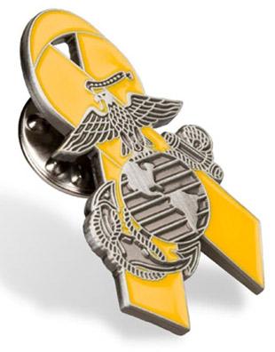 Lapel Pin Yellow Ribbon With Eagle Globe And Anchor