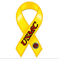 Ribbon Car Magnet, Yellow USMC and Seal