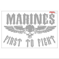 Decal, White Vinyl, First to Fight