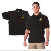 Polo: US Marines (Gold embroidery on Black)