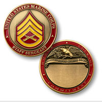 Custom Engraved Rank Coin, E-6 (Staff Sergeant)