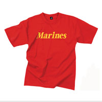 T-Shirt: Classic Marines (Yellow on Red)