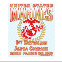 Sticker (Set of 4): 1st Btn Parris Island (Choose A, B, C, D Company)