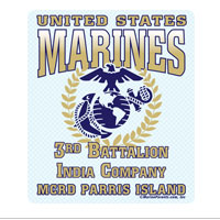 Sticker (Set of 4): 3rd Btn Parris Island (Choose I, K, L, M Company)