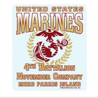 Sticker (Set of 4): 4th Btn Parris Island (Choose N, O, P Company)
