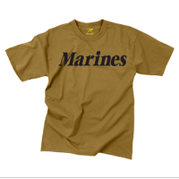 T-Shirt: Classic Marines (Black on Coyote)