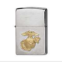 Lighter, Zippo: Eagle, Globe and Anchor (gold on silver)
